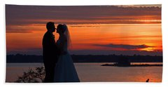 Sunset At Night A Wedding Delight Beach Sheet