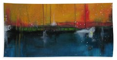 Beach Towel featuring the painting Sunset At The Lake  # 1 by Nicole Nadeau