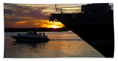 Beach Towel featuring the photograph Sunset At The Shore by Barbara Middleton