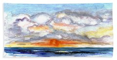 Beach Sheet featuring the painting Sunset Clouds by Clara Sue Beym