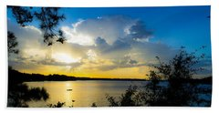 Sunset Fishing Beach Towel by Shannon Harrington