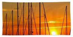 Sunset In A Harbour Digital Photo Painting Beach Sheet