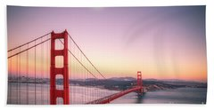 Sunset In San Francisco Beach Towel by Jim And Emily Bush