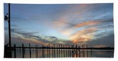 Beach Sheet featuring the photograph sunset marina Everglades by Dan Friend