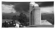 Sunset On The Farm Bw Beach Towel