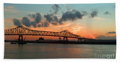 Sunset On The Mississippi  Beach Towel by Lydia Holly