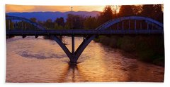 Sunset Over Caveman Bridge Beach Towel by Mick Anderson