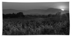 Sunset Over The Vineyard Black And White Beach Towel