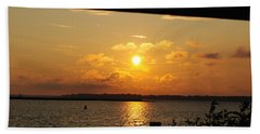 Beach Towel featuring the photograph Sunset Through The Rails by Michael Frank Jr