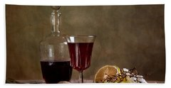 Supper With Wine Beach Towel by Nailia Schwarz