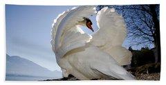 Swan In Backlight Beach Sheet
