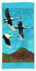 Beach Towel featuring the drawing Swans In Flight by Wendy McKennon