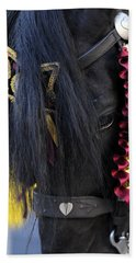 sweetheart - a Menorca race horse with traditional multicolor ribbons and mirror star Beach Towel