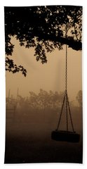 Beach Sheet featuring the photograph Swing In The Fog by Cheryl Baxter