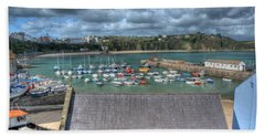 Beach Towel featuring the photograph Tenby Harbour Pembrokeshire 1 by Steve Purnell