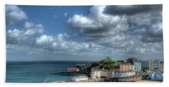 Beach Towel featuring the photograph Tenby Harbour Pembrokeshire 3 by Steve Purnell