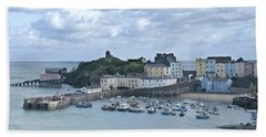 Beach Towel featuring the photograph Tenby Harbour Pembrokeshire Panorama by Steve Purnell