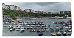 Beach Towel featuring the photograph Tenby Panorama by Steve Purnell