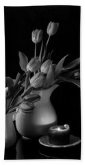 Beach Towel featuring the photograph The Beauty Of Tulips In Black And White by Sherry Hallemeier