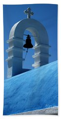 The Bell Tower In Mykonos Beach Towel by Vivian Christopher