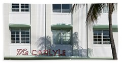 The Carlyle Hotel 2. Miami. Fl. Usa Beach Towel