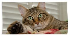 The Cat With Green Eyes Beach Towel