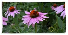 The Coneflower And The Bee Beach Towel