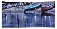 Beach Sheet featuring the photograph The Dramatic Canoe Scene by Janie Johnson