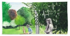 Beach Sheet featuring the painting the garden at the wellers carriage house in Saline  Michigan 1 by Yoshiko Mishina