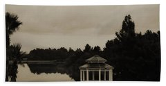 Beach Sheet featuring the photograph The Gazebo At The Lake by DigiArt Diaries by Vicky B Fuller
