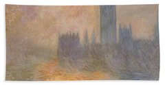 The Houses Of Parliament At Sunset Beach Towel by Claude Monet