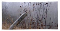 The Old Fence - Blue Misty Morning Beach Towel by Angie Rea