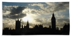 The Outline Of Big Ben And Westminster And Other Buildings At Sunset Beach Towel