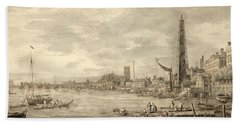 The Thames Looking Towards Westminster From Near York Water Gate  Beach Towel