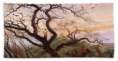 The Tree Of Crows Beach Towel by Caspar David Friedrich