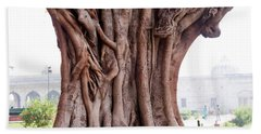 The Twisted And Gnarled Stump And Stem Of A Large Tree Inside The Qutub Minar Compound Beach Sheet by Ashish Agarwal