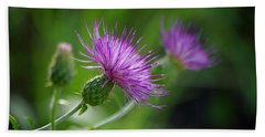 Beach Towel featuring the photograph Thistle Dance by Vicki Pelham