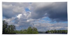 Beach Towel featuring the photograph Three Islands And Cloud Mass by Lynda Lehmann