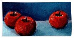 Three Red Apples Beach Towel