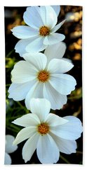 Three White Flowers Beach Towel