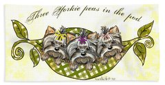 Beach Towel featuring the mixed media Three Yorkie Peas In The Pod by Catia Lee