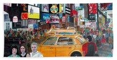 Times Square Beach Towel by Anna Ruzsan
