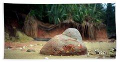 Beach Towel featuring the photograph Tinopai Beach Rock by Mark Dodd
