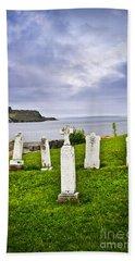 Tombstones Near Atlantic Coast In Newfoundland Beach Towel