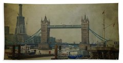 Beach Towel featuring the photograph Tower Bridge. by Clare Bambers
