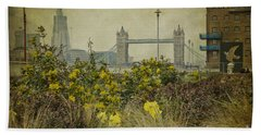 Beach Towel featuring the photograph Tower Bridge In Springtime. by Clare Bambers