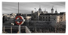 Tower Of London With Tube Sign Beach Sheet