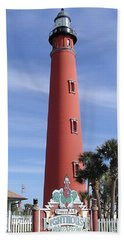 Beach Towel featuring the photograph Towering Lighthouse by Barbara Middleton