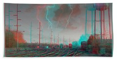 Tracking The Storm - Red-cyan Filtered 3d Glasses Required Beach Towel