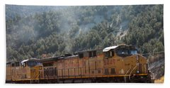 Train In Spanish Fork Canyon Beach Towel